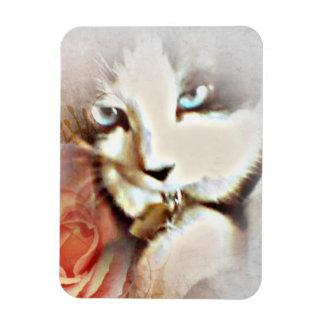 Snowshoe Springtime Flower Kitty Magnet