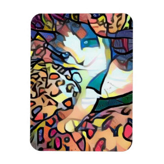 snowshoe stained glass kitty magnet