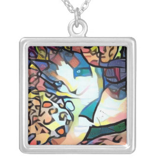snowshoe stained glass kitty silver plated necklace