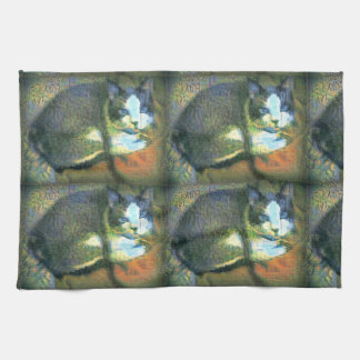 snowshoe stunning kitty tea towel