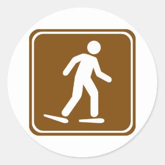 Snowshoe Trail Highway Sign Round Sticker