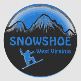 Snowshoe West Virginia blue snowboard stickers