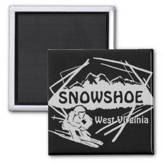 Snowshoe West Virginia gray black ski logo magnet