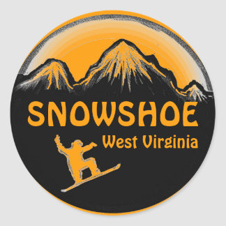Snowshoe West Virginia orange snowboard stickers