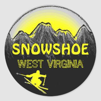 Snowshoe West Virginia yellow ski stickers