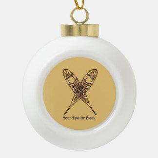 Snowshoes Ceramic Ball Christmas Ornament