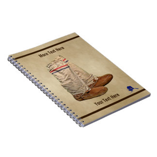 Snowshoes On Old Paper Spiral Notebook