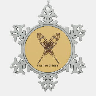 Snowshoes Snowflake Pewter Christmas Ornament