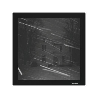 Snowstorm haunted house winter black and white canvas print