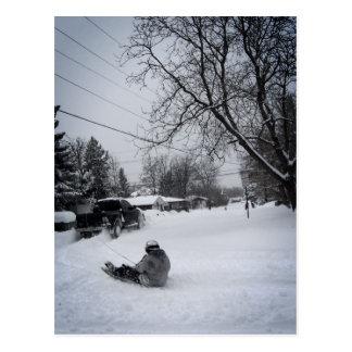 snowtubing winter fun postcard