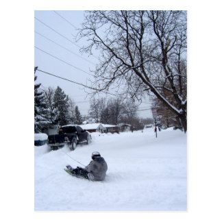 snowtubing. winter fun. postcard