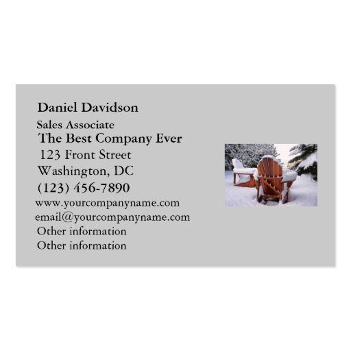 Snowy Adirondack Chairs in Winter Photo Business Card Template