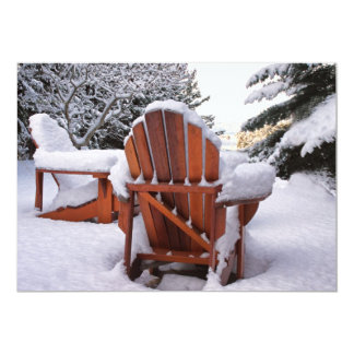 Snowy Adirondack Chairs in Winter Photo Card