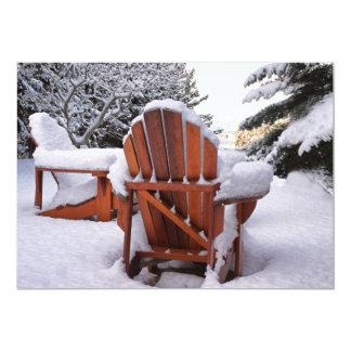 "Snowy Adirondack Chairs in Winter Photo 5"" X 7"" Invitation Card"