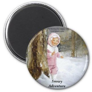 Snowy Adventure 6 Cm Round Magnet