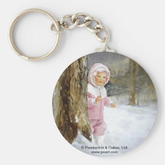Snowy Adventure Basic Round Button Key Ring