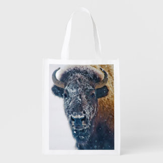 Snowy American Bison at Yellowstone NP Reusable Grocery Bag