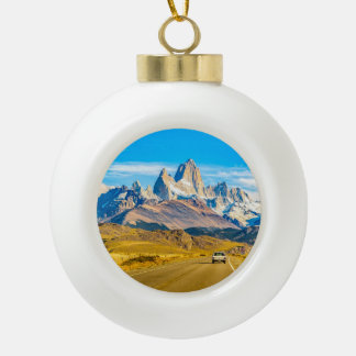 Snowy Andes Mountains, El Chalten, Argentina Ceramic Ball Christmas Ornament