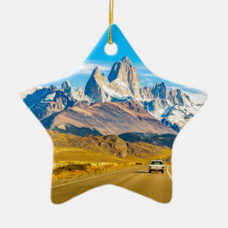 Snowy Andes Mountains, El Chalten, Argentina Ceramic Ornament