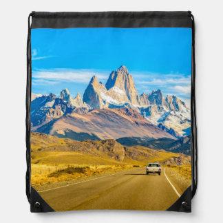 Snowy Andes Mountains, El Chalten, Argentina Drawstring Bag