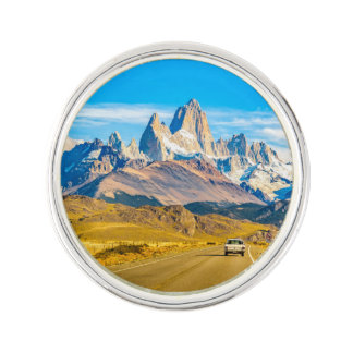Snowy Andes Mountains, El Chalten, Argentina Lapel Pin