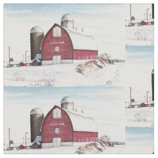 Snowy Barn Fabric