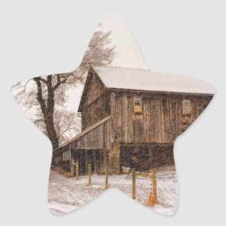 Snowy Barn Star Sticker
