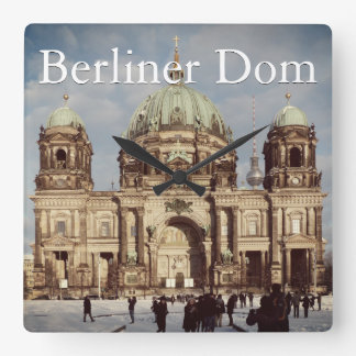 Snowy Berlin Cathedral 001.02.T.F.1 (Berliner Dom) Square Wall Clock