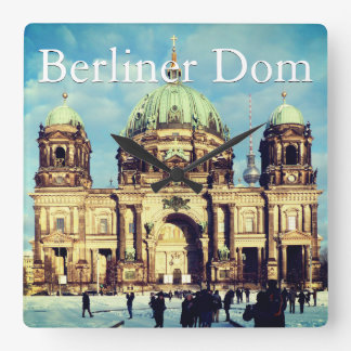 Snowy Berlin Cathedral 001.02.T.F.2 (Berliner Dom) Square Wall Clock
