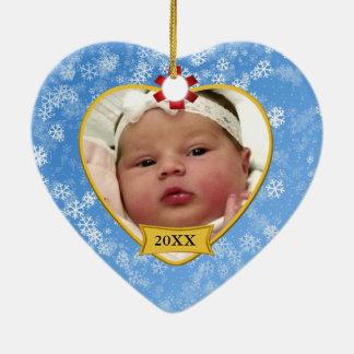 Snowy Blue Baby's Photo Keepsake Christmas Ceramic Heart Decoration