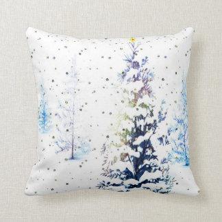 Snowy Blue Christmas Tree Square Pillow