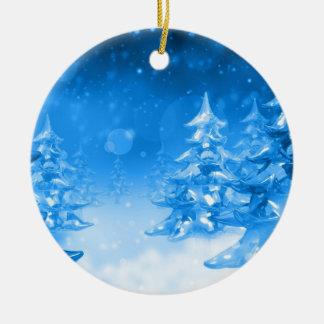 Snowy Blue Forrest Christmas Ornament