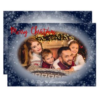 Snowy Blue Oval Photo Frame Christmas Card
