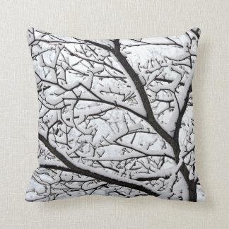 Snowy branch cushion