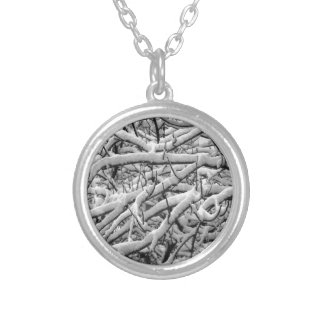 Snowy branches silver plated necklace