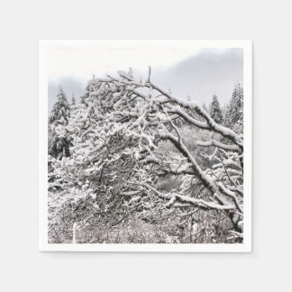 Snowy branches standard Paper Napkins Disposable Napkin