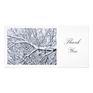 Snowy Branches - Thank You Personalised Photo Card