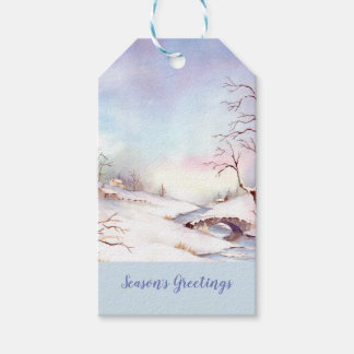 Snowy Bridge Watercolor Landscape Painting Gift Tags