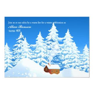 Snowy Cabin Invitation