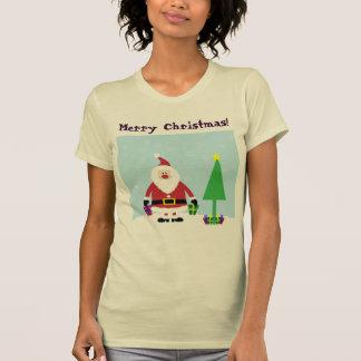 Snowy Cartoon Santa with gifts and Christmas Tree T-Shirt
