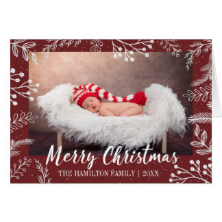 Snowy Chalk Branches Color Editable Photo Card