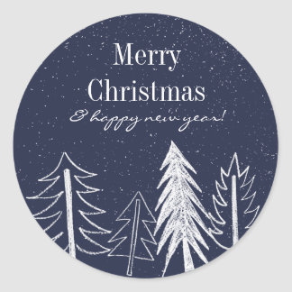 Snowy Chalk Trees Colour Editable Holiday Classic Round Sticker