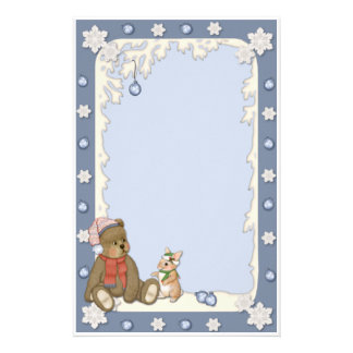 Snowy Christmas Bear & Bunny Stationery