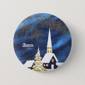 Snowy Christmas Church Amen Button