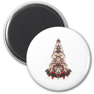 Snowy Christmas Tree 6 Cm Round Magnet