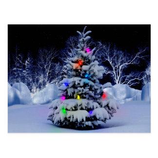 Snowy Christmas Tree Postcard