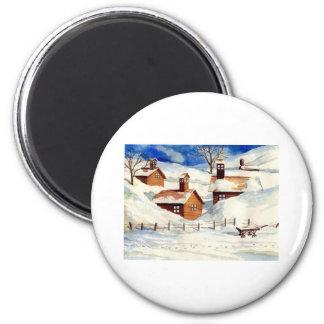 Snowy Christmas Village 6 Cm Round Magnet
