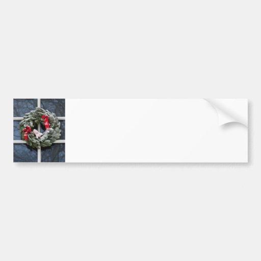 Snowy christmas wreath bumper sticker