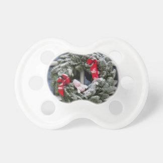 Snowy christmas wreath pacifier