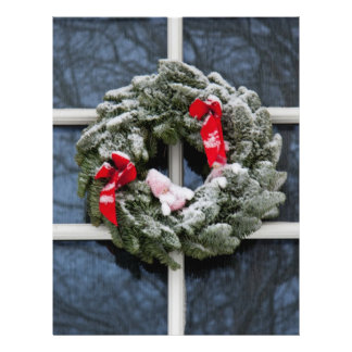 Snowy christmas wreath personalized flyer